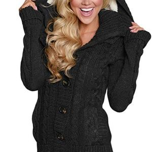 Women's Hooded Knit Cardigans Black Sweater Coat